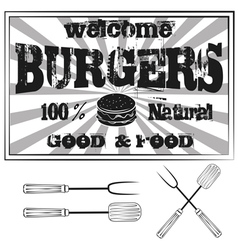Vintage Metal Sign - Try Our Home style Hamburgers vector image vector image
