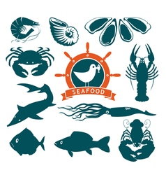 animals on seafood vector image vector image