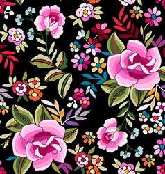 Colorful Flamenco print with roses vector image vector image