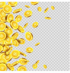 gold coins rain or golden money coin pattern on vector image vector image