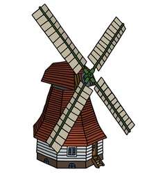 Classic dutch windmill vector image vector image