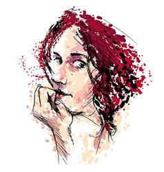 Colored Hand drawing a womans head vector image