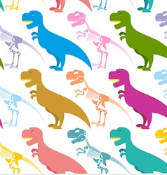 Dinosaur and skeleton seamless pattern vector image vector image