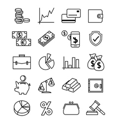 Finance payments and money line icons set vector image vector image
