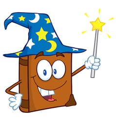happy spell book with a wizard hat and magic wand vector image vector image