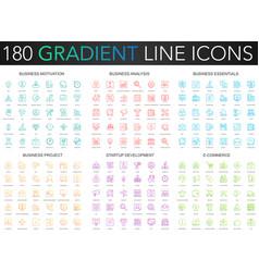 180 trendy gradient thin line icons set vector