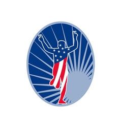 American marathon runner run race vector