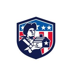 American Patriot Holding House Flag Crest Retro vector