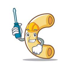 Automotive macaroni mascot cartoon style vector