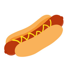 big hot dog with mustard isolated on white vector image