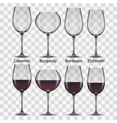 big reds wine glass set vector image