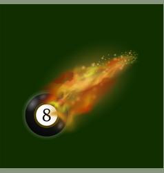 Black billiard ball on fire flame vector