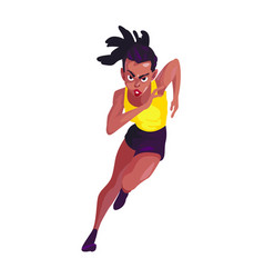 black woman in a yellow black sport suit runs on a vector image