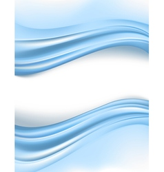 Blue silky waves borders vector