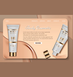 body cosmetic landing page website template vector image