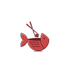 bowl fish sushi restaurant logo design vector image