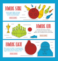 bowling doodle three horizontal banners vector image
