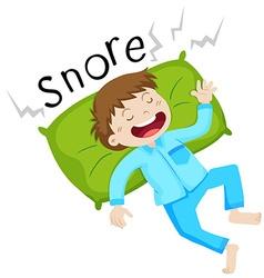 Boy in bed snoring vector