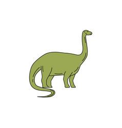 Brontosaurus mono line vector