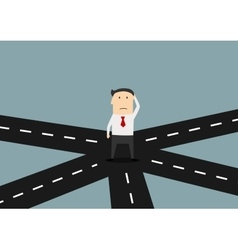 Businessman on crossroad choosing direction vector