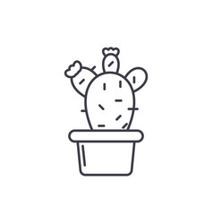 cactus in a pot line icon concept cactus in a pot vector image