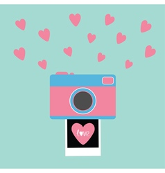 Camera Instant photo Flat design style Pink hearts vector
