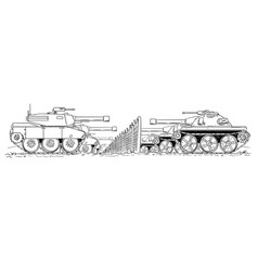 cartoon drawing of group of enemy tanks defending vector image