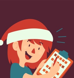 Cartoon Girl Filling Form Wearing a Christmas Hat vector