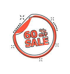 Cartoon sale sticker 60 percent off icon in comic vector