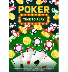 casino poker cards chips aces and golden coins vector image