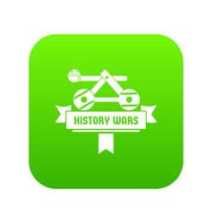 Catapult icon green vector