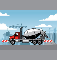 Cement truck on truck construction site vector
