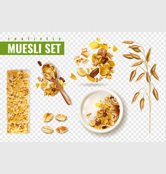 Cereal muesli transparent set vector