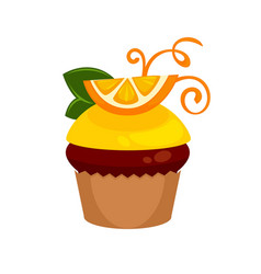 chocolate cupcake with fresh orange slice and vector image