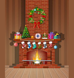 christmas brick classic fireplace vector image