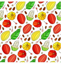 Cocoa fruit doodle seamless pattern vector