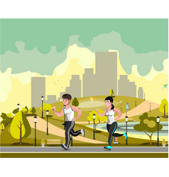 couple jogging in the city park vector image
