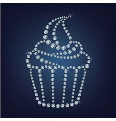 Cupcake made up a lot of diamonds vector image