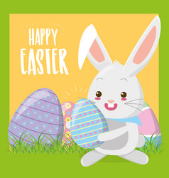 cute rabbit with easter egg vector image