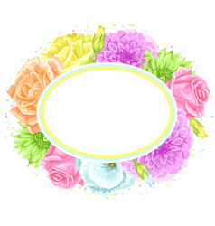 Decorative frame with delicate flowers object for vector