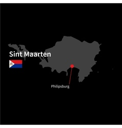 Detailed map of Sint Maarten and capital city vector