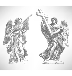 digital drawing marble statue of two angels vector image