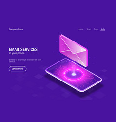 email services in your phone concept hologram vector image