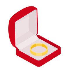 engagement ring in red box on white background vector image
