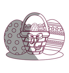 figure hamper with ribbon bow and eggs easter vector image