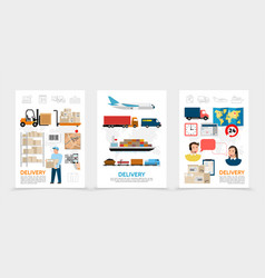 flat delivery posters vector image