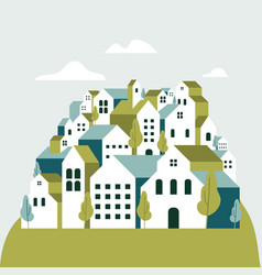 flat geometric buildings minimal green city vector image