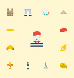 Flat icons dessert french pantomime and other vector