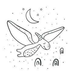 flying dinosaur coloring page vector image