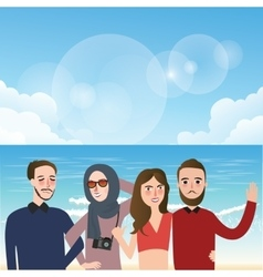 friends taking picture together wearing veil fun vector image